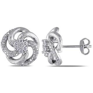 Miadora Sterling Silver 1/3ct TDW Diamond Stud Earrings (H-I, I2-I3)
