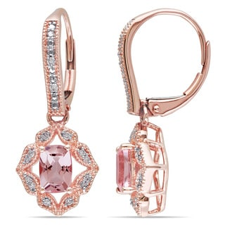 Miadora 10k Rose Gold Morganite and 1/10ct TDW Diamond Earrings (H-I, I2-I3)