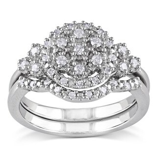 Miadora Sterling Silver 1/3ct TDW White Diamond Bridal Ring Set (H-I, I2-I3)