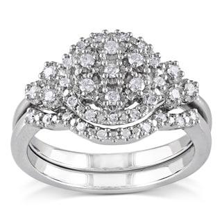 Miadora Sterling Silver 1/3ct TDW White Diamond Bridal Ring Set (H-I, I2-I3)