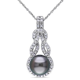 Miadora 10k White Gold Tahitian Black Pearl and 1/5ct TDW Diamond Necklace (H-I, I2-I3) (8-8.5 mm)