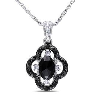 Miadora 10k White Gold 1/2ct TDW Black and White Diamond Necklace (H-I, I2-I3)