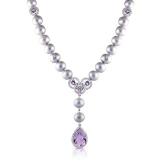 Miadora Silver Grey Pearl and Rose de France with White Cubic Zirconia Necklace (8-8.5 mm)