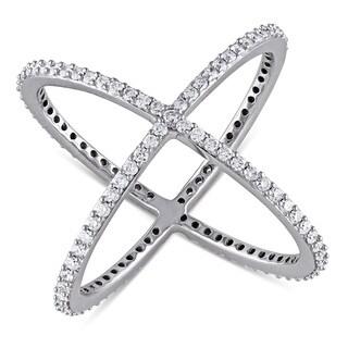 Miadora 14k White Gold 3/4ct TDW Diamond 'X' Ring (G-H, SI1-SI2)