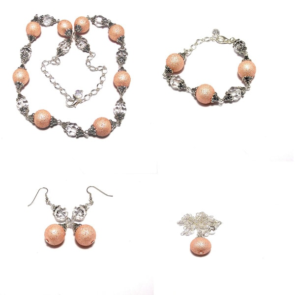 Pastel Pink MoonScape Crystal Pearl 4-piece Wedding Jewelry Set