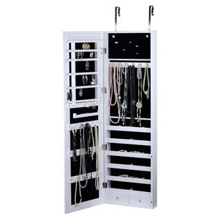 Wooden White Over-the-Door Wall mount Jewelry Armoire Cabinet with Mirror Storage Wallmount Case