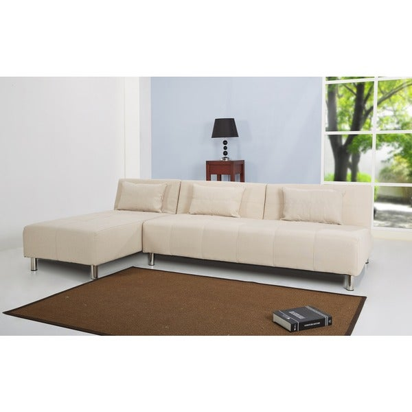 Atlanta Beige Convertible Sectional Sofa Bed