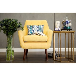 Hand-crafted Mustard Yellow Linen Chair with Button Tufting