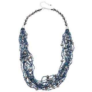 Hand-crafted Nickel Deep Sea Blues Glass Bead Multi-strand Necklace (India)