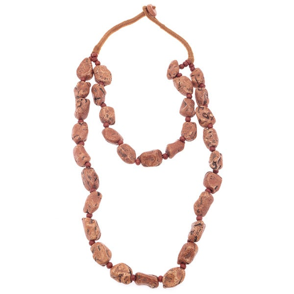 Brown/ Orange Natural Rock Toggle Necklace (India)
