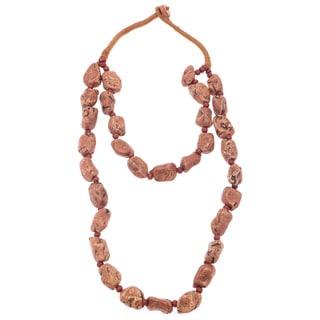 Brown/ Orange Natural Rock Toggle Necklace (India)