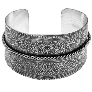 Hand-crafted Nickel Floral and Rope Textured Cuff Bracelet