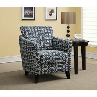 Dark Blue Angled Kaleidoscope Fabric Accent Chair