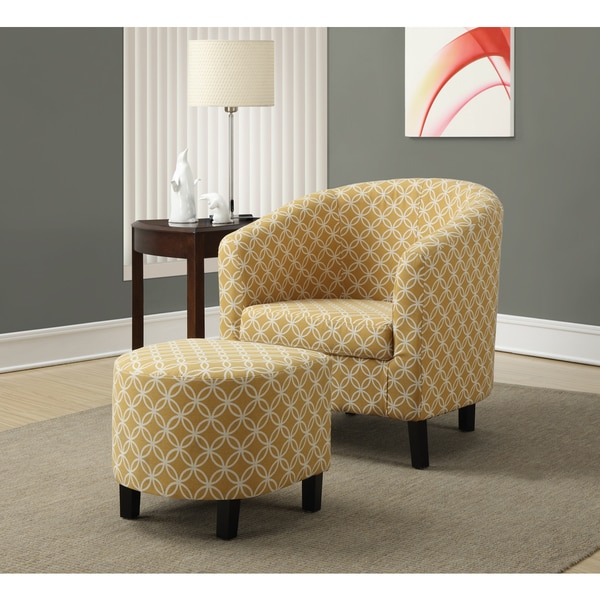 burnt yellow 2 piece accent chair and ottoman set