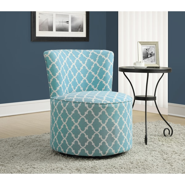 Light Blue Lantern Fabric Accent Chair