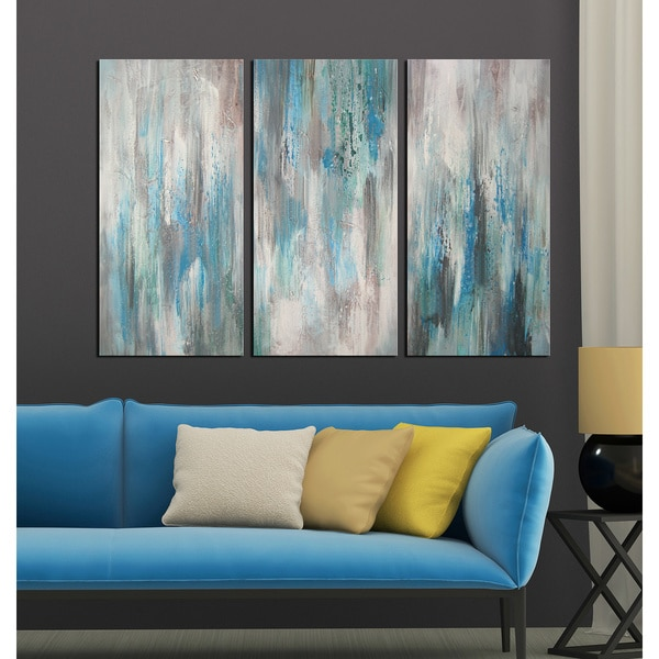 Hand painted 39 sea of clarity 39 3 piece gallery wrapped for Set of three canvas paintings