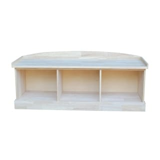 Unfinished Solid Parawood Storage Bench with Three Compartments
