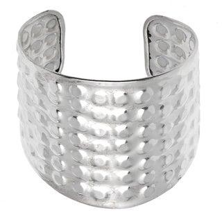 Hammered Silvertone Nickel Cuff Bracelet (India)