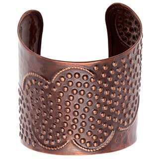 Hand-crafted Hammered Copper Cuff Bracelet (India)