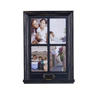 Melannco Distressed Black Window Collage 4-photo Frame