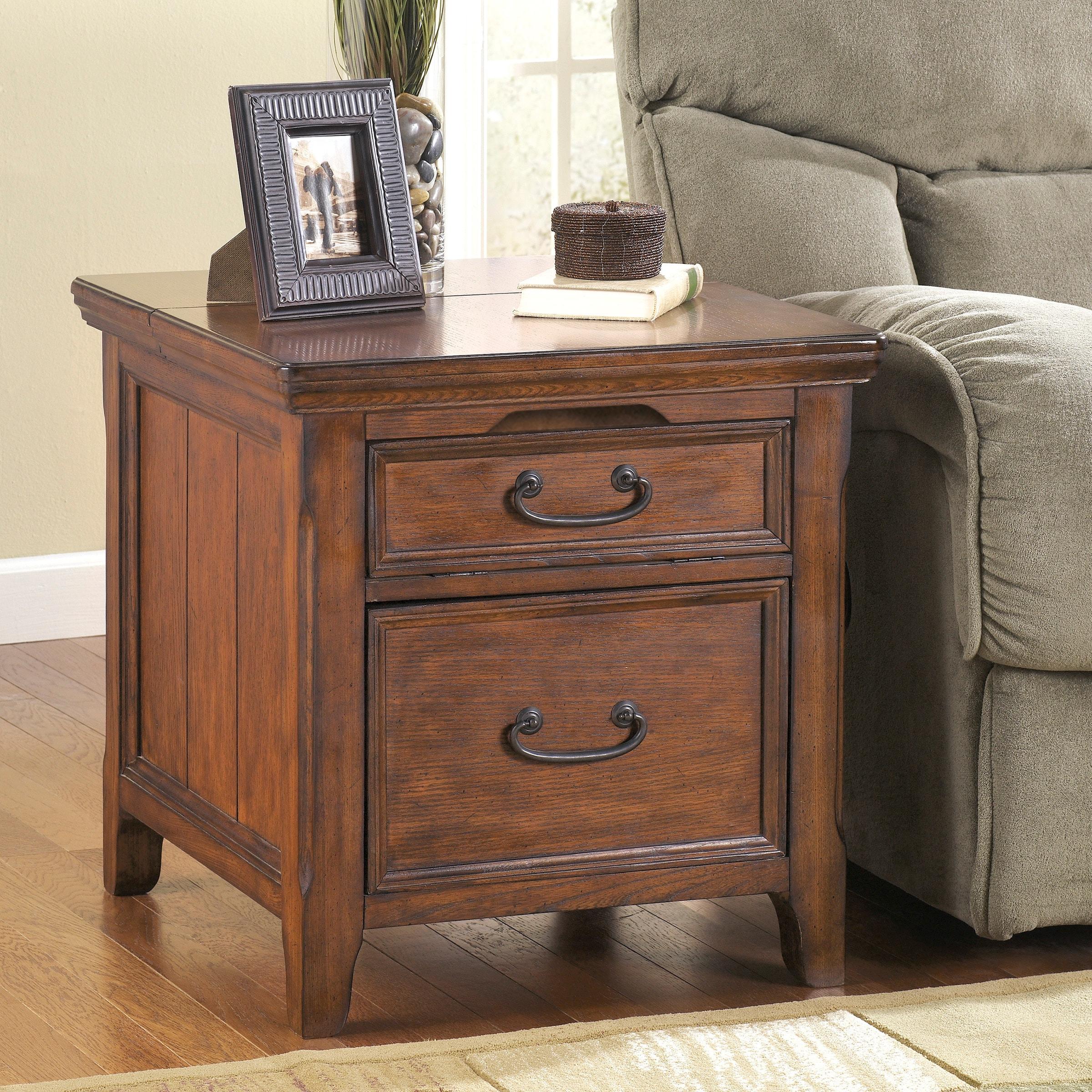 Ashley Coffee End Tables: Signature Design By Ashley Woodboro Oak Media End Table