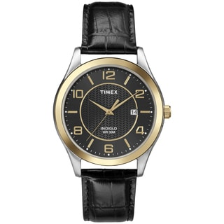 Timex Men's T2P4509J Main Street Dress Two-tone Case Black Leather Strap Watch