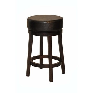 Whitaker Furniture Leatherette and Espresso Backless Swivel Stools (Set of 2)