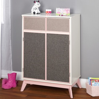 Simple Living Couture Antique White and Pink Storage Cabinet