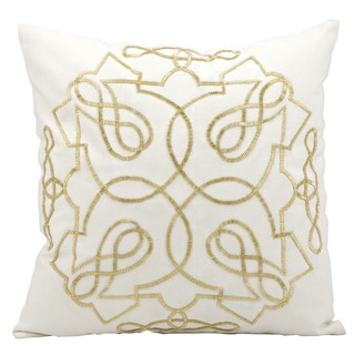 Nourison Kathy Ireland White Goldtone Stitching 18-inch Throw Pillow