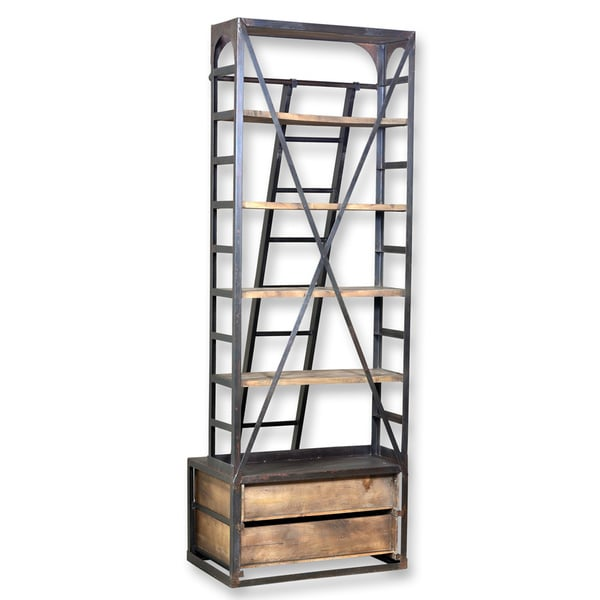 Industrial Style Single Hutch Style Bookcase with Ladder - 16481149 ...