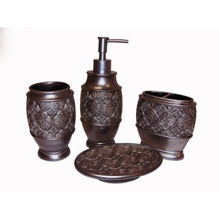 Kasbar Bronze Bath Accessory 4-piece Set