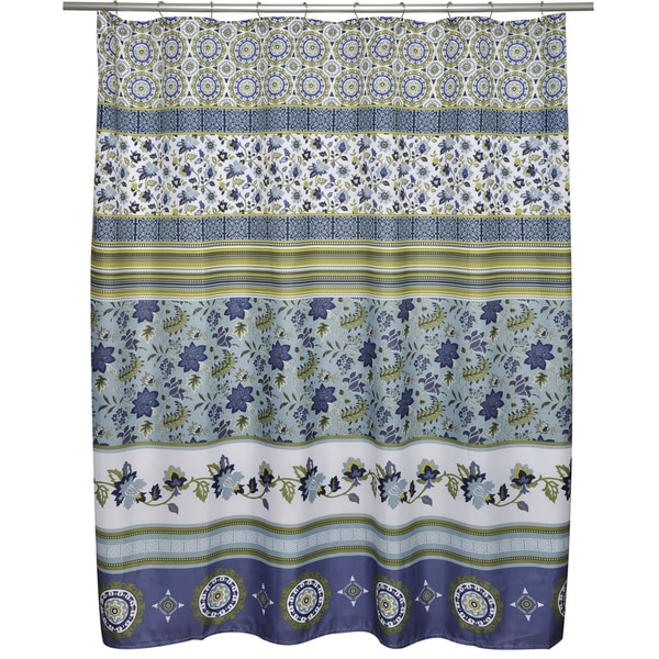Mix N Match Indigo Floral Stripe Shower Curtain