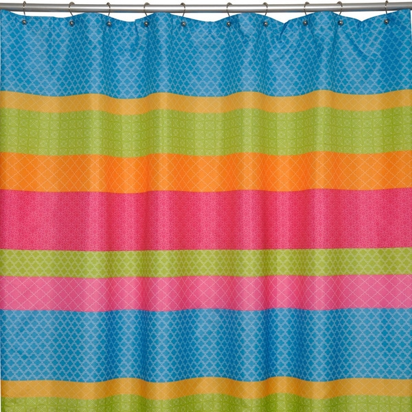 Go Geo Multicolored Stripe Shower Curtain