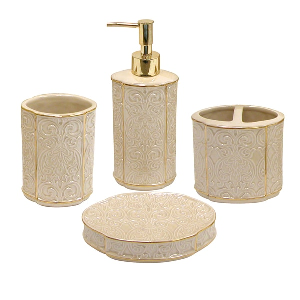 Furla damask cream bath accessory 4 piece set overstock for Cream bathroom accessories set