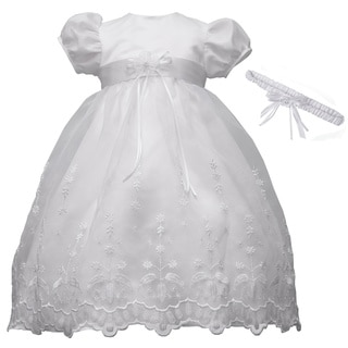 Girls Christening/ Baptism Long Dress with Headband