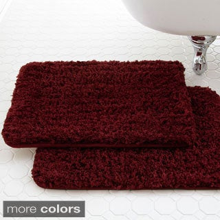 Spa Collection Shaggy Memory Foam Bath Mat (Set of 2)