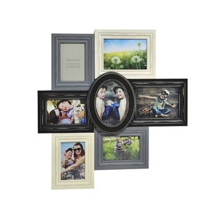 Melannco Distressd Black, Grey and Cream 7-photo Collage Frame