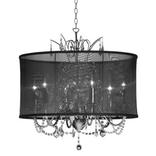 Vanessa Crystal 5-light Black Organza Chandelier