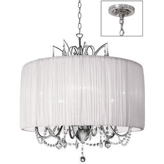Victoria 6-light Polished Chrome/ Pleat White Crystal Chandelier
