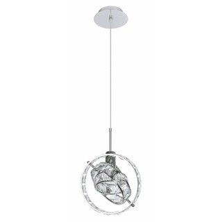Cassini Single-light Polished Chrome Crystal Pendant