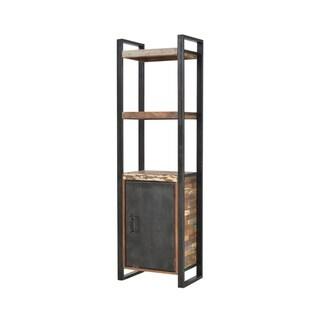 Natural Teak Wood Single Door Bookcase