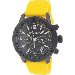 Nautica Men's Nsr 19 N18711G Yellow Rubber Quartz Watch