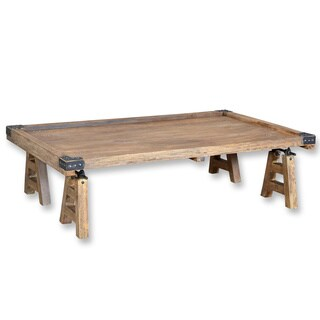 Industrial Stained Hardwood Indian Cart Coffee Table