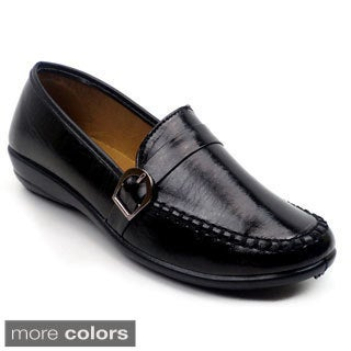 Blue Women's 'Nicholas' Black Patent/ Black Croco Comfort Loafers with Black Stitching