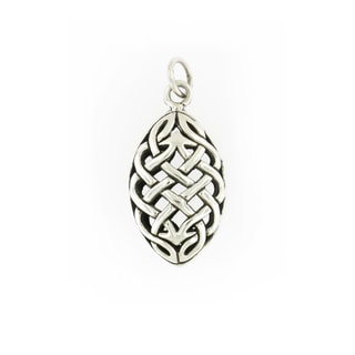 Handmade Sterling Silver Woven Marquise Pendant (Thailand)