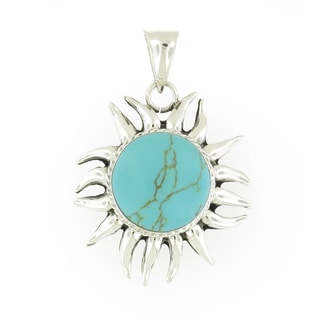 Handmade Heavy Sterling Silver Turquoise Eclipsed Sun Pendant (Mexico)