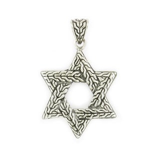 Handcrafted Textured Sterling Silver Star of David Pendant (Thailand)