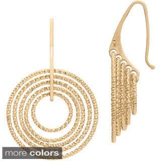 Goldplated Sterling Silver Italian Diamond-cut Dangle Earrings