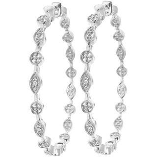 Sterling Silver 1/8ct TDW Diamond Hoop Earrings (H-I, I2-I3)