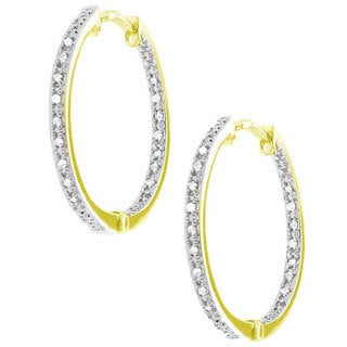 Gioelli Goldtone Diamond Accents Hoop Earrings